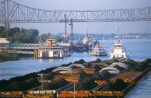Coal barges in 2006. WorkBoat file photo.