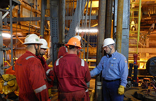 A BSEE inspector aboard the Polar Pioneer. Photo: BSEE