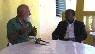 With Galmudug President Abdi Qeybdiid, Galcayo, Somalia, February 2013 Photo courtesy Max Hardberger