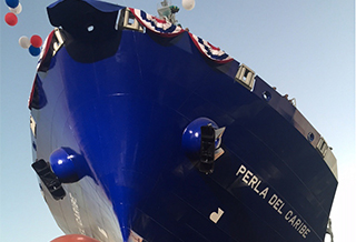 A view from below the Perla del Caribe before launch on Aug. 29. Photo: NASSCO