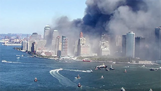 Boats converge on lower Manhattan on 9/11. YouTube screenshot.