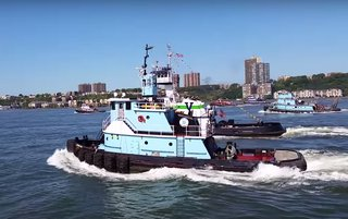 Tugs racing in the 23rd Great North River Tugboat Race & Competition. YouTube screenshot.