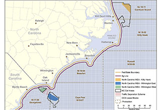 A map of BOEM Wind Energy Areas offshore North Carolina.