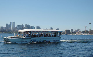 A duck boat operated by Ride the Ducks of Seattle. Ride the Ducks of Seattle photo.