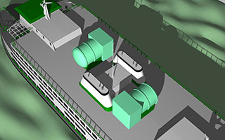 Close-up WSF rendering of LNG tanks on an Issaquah-class ferry.