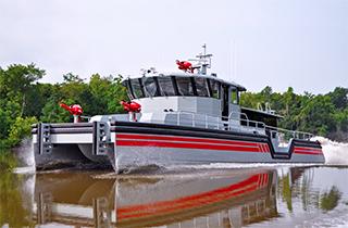 A custom configured multipurpose port security fireboat. Metal Shark photo.