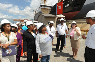 Teachers from the Maritime Industries Academy High School in Baltimore visit the Coast Guard Yard in 2010. USCG photo.