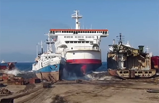 The Pride of Calais enters a Turkish ship-breaking yard. Screenshot from video by Selim San.