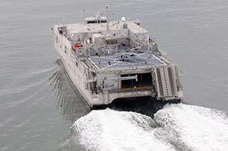 The EPF Spearhead during sea trials. Austal photo.
