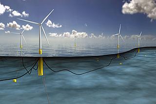 Rendering of Statoilu2019s proposed floating wind farm off the Scottish coast. Image courtesy Statoil.