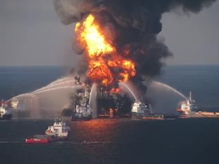 Deepwater Horizon ablaze in 2010. USCG photo.