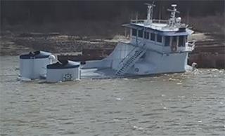 The partially submerged William Strait. CBS-36 video screenshot.