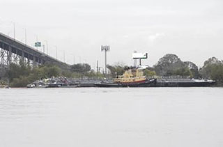 The scene of Friday's barge allision in New Orleans. USCG photo.