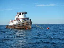 The Ocean Wind before sinking. Escambia County photo.