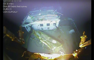 The wreck of the El Faro's bridge deck. NTSB photo.