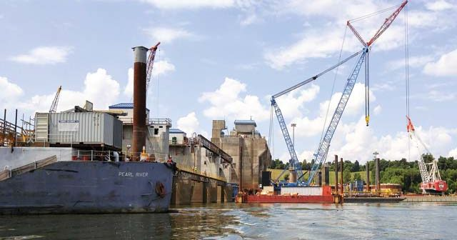 The Olmsted Locks and Dam project on the Ohio River is the costliest inland waterways project. Corps of Engineers photo.