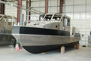 A patrol boat under construction at Metal Shark. Ken Hocke photo.