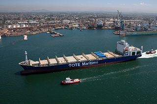 TOTE Maritime's new LNG containership Isla Bella at sea trials in August 2015. NASSCO photo.