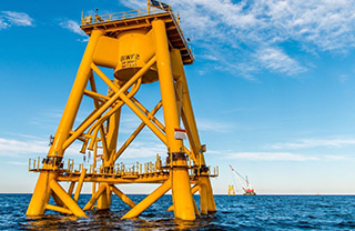 Deepwater Wind foundations at the Block Island wind farm site off Rhode Island. Deepwater Wind photo.