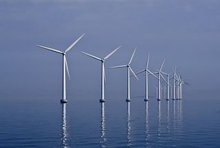 Turbines at Denmark's Middlegrunden wind farm. Creative Commons photo/Kim Hansen.