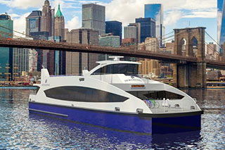 A rendering of the Incat Crowther-designed ferries being built for New York's Citywide Ferry Service.