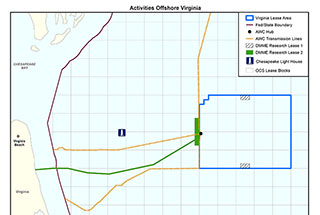 A BOEM map shows the wind research area off Virginia.