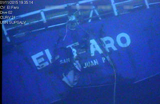 Wreck of the El Faro. NTSB photo.