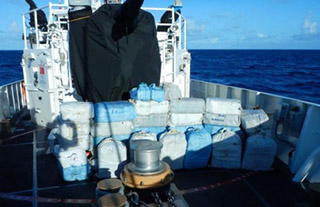 Cocaine seized by the USCG and Navy in an April 7 bust. USCG photo.