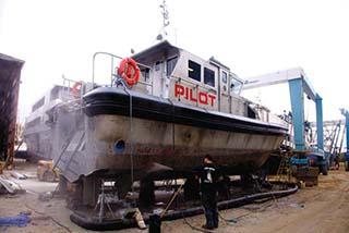 A pilot boat is serviced at Yank Marine's New Jersey yard. Yank Marine recently received a Marad small shipyard grant. Kathy Bergren Smith photo.