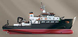 Rendering of a Regional Class Research Vessel designed by Oregon State University. OSU image.