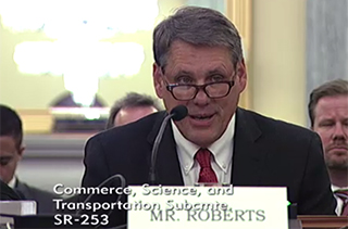 Crowley Maritime's Michael Roberts testifies before the Senate subcommittee. Hearing video screenshot.