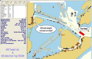 A screenshot showing AIS data. USCG image.