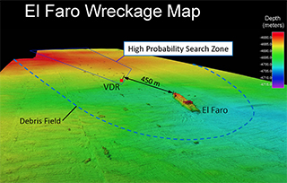 An NTSB map shows the El Faro wreckage.