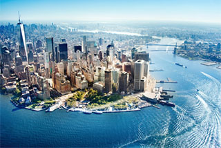 An aerial view of lower Manhattan looking up the East River. Hornblower photo.