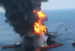 The Deepwater Horizon ablaze. USCG photo.