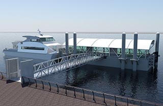 A rendering of the floating landing for New York's new citywide ferry service. New York Economic Development Committee image.