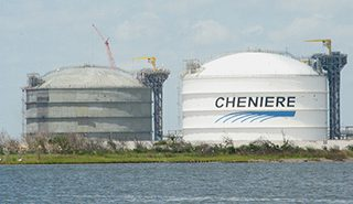 Tanks at Cheniere Energy's Sabine Pass LNG terminal. Creative Commons photo/Roy Luck.