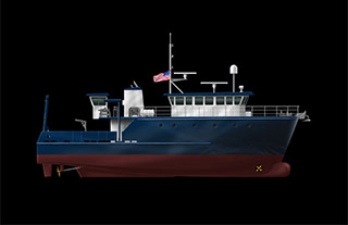 A rendering of the 78' research vessel Duckworth Steel Boats will build for the Florida Institute of Oceanography. Boska Marine Design image.