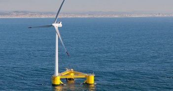 Principle Power's Aguçadoura WindFloat prototype offshore Portugal. Principle Power photo.