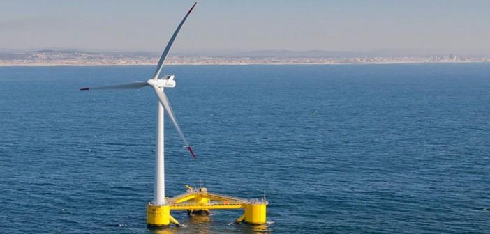 Principle Power's Aguçadoura WindFloat prototype offshore Portugal. Principle Power photo.