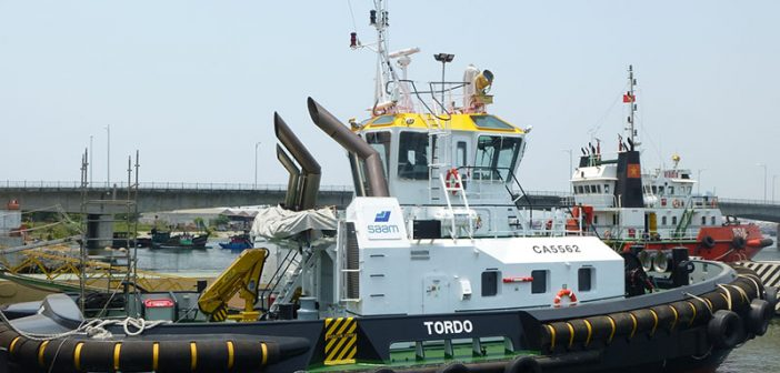 The Tordo, one of two ASD tugs Damen delivered to SAAM S.A. Damen Shipyards Group photo.