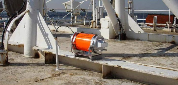 The El Faro voyage data recorder capsule on top of El Faro's navigation bridge. Photo courtesy NTSB.