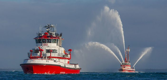 The Protector (Fireboat 20) arrives at the Port of Long Beach. Port of Long Beach photo.