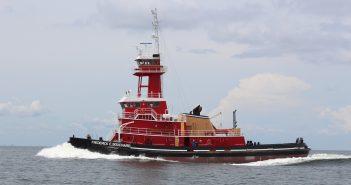 The Frederick E. Bouchard, a new ATB tug for Bouchard Transportation from VT Halter Marine. VT Halter photo