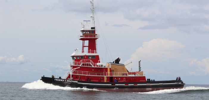 The Frederick E. Bouchard, a new ATB tug for Bouchard Transportation from VT Halter Marine. VT Halter photo