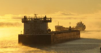 Freighters at the Soo Locks, which connect Lake Superior and the other Great Lakes. USACE photo.