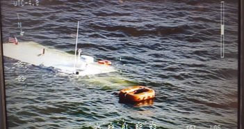 The submerged tour boat Karen N. in the Chesapeake Bay. Maryland State Police photo.