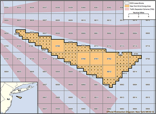 A BOEM map shows the proposed wind energy area offshore New York.