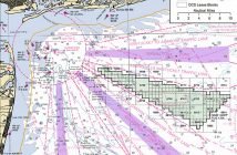 A nautical chart showing the proposed New York wind energy area. Image: BOEM.