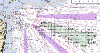 A nautical chart showing the proposed New York wind energy area. BOEM image.